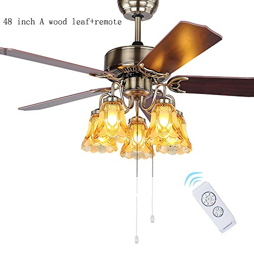 Americano retrò foglia di legno ventilatore lampadario europeo antico semplice ristorante soggiorno casa ventilatore a soffitto luce e27 * 5 (colore : 48 inch remote control switch)