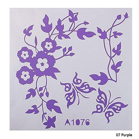 Autocollant de décoration pour salle de bain Calistouk - Pour cuvette de toilette, table ou décor mural, violet