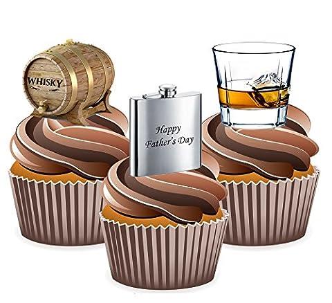 Fathers Day Whisky pour gâteaux Thème, Yummy Décorations comestibles pour goût vanille, 12