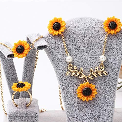 ke Dame Sunflower Leaf Faux Perle Charme Halskette Ohrringe Armband Ring Set für Frauen Silber 5 ()