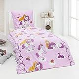Dreamhome 100% Baumwolle Fein-Biber Bettwäsche Mädchen Einhorn Prinzessin Pony 135x200