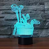 YDBDB Luce notturna 3D Golf Club Borsa da tavolo modellabile 7 colori visivi per bambini Touch Button Led USB Baby Sleep Lighting Home Decor Regali