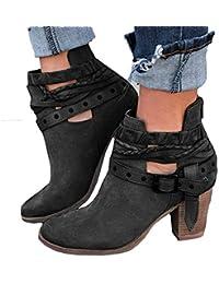 JiaMeng Moda Mujer Retro Otoño Invierno Botines Calentar Botas De Nieve Anti-Deslizante Lazada Zapatos