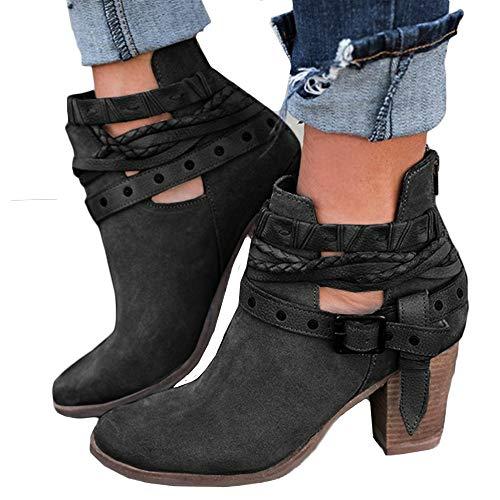 Botas, JiaMeng Mujer Nieve Plana del Tobillo Botas de Moto Cuero de Gamuza Femenino Zapatos Botas cálidas Botas Botas Cortas Botines (Negro, EU36)