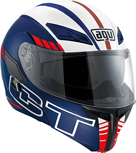 AGV Motorradhelm Compact St E2205 Multi PLK, Seattle Matt Blau/Weiß/Rot, Größe XS
