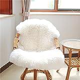 Calistouk Funda de silla o alfombra suave y esponjosa de oveja, antideslizante y lavable, piel sintética, Blanco, 60x90cm