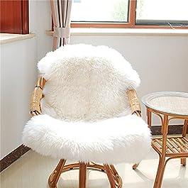 CALISTOUK Faux Peau de Mouton en Laine Tapis Chambre Salon de Lit Coussin de Chaise Antidérapant Décoration, Blanc