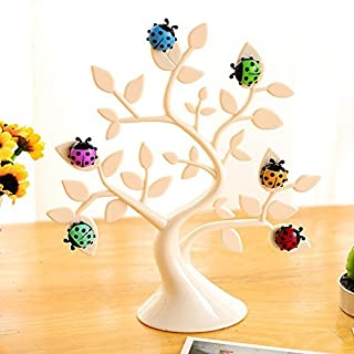 Chris. W 1PC Creative Liebenswürdig, Baum Form Marienkäfer Magnet Tischplatte Memo Clip Halter Display für Karten/Notizen/Fotos/Bilder/Platzkarten, grün 4.7*6.2*16.5cm weiß