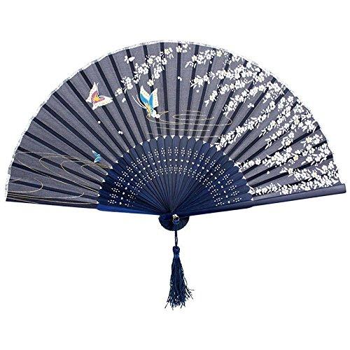 Hosaire 1 x Seide Bambus Fan Klapp Fan Tanz Prop Fan Klappbarer Handfächer Geschenk (Fan-prop)