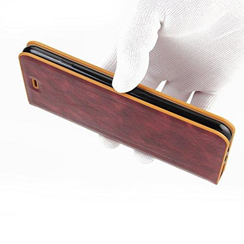 2017 Neu Hochwertige Kohlefaser automatische Saug-Schnalle Hülle Case ,TPU + Leder Cover Full Body Schutz für apple iphone 7plus (Braun) Rotwein