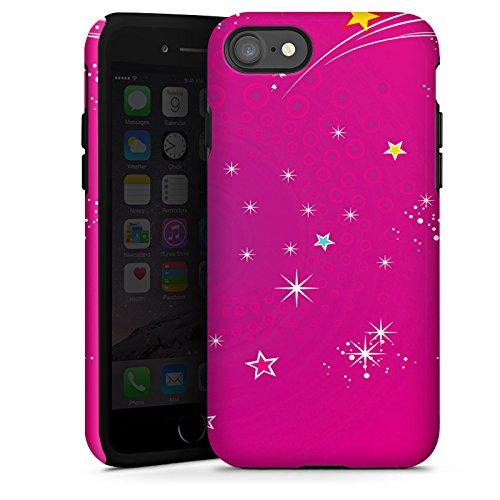 Apple iPhone X Silikon Hülle Case Schutzhülle Pink Sterne Himmel Tough Case glänzend