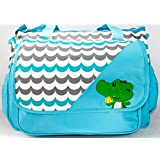 Rachna's Water Waves Crocodile Print Multi-Purpose Travel Organizer Water Repellent Baby Diaper Bag - 6028 - Blue