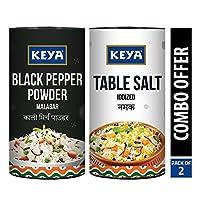 Keya Combo of Black Pepper Powder(100G) and Table Salt (200G)