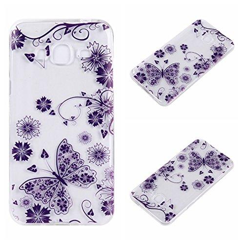 Qiaogle Telefon Case - Weiche TPU Case Silikon Schutzhülle Cover für Apple iPhone 7 (4.7 Zoll) - DD04 / Grün Blume DD18 / Lila Schmetterling