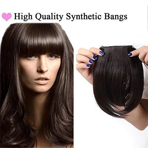 Frangia clip finta extension capelli frangetta frontale clip in hair bang fascia unica corta capelli lisci fringe 30g castano scuro