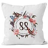 MoonWorks Kissen-Bezug Geburtstag 88 achtundachtig Geschenk-Kissen Blumen Blüten Blumenkranz Bordüre Kissen weiß Unisize