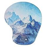 Handgelenkauflage Mouse pad ,Lizimandu rutschfeste Gummi-Unterseite gleichmäßige Maussteuerung ergonomisches Komfort Mauspad mit Handauflage(Schnee Gebirge/Snow Mountain)