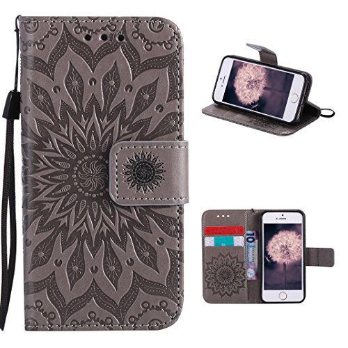 iPhone SE Flip Cover, iPhone 5 Handyhülle, iPhone 5S Case,Moon mood® Flip Case Brieftasche für Apple iPhone 5/5S/SE (4.0 Zoll) ,PU Leder Hülle Wallet Case Folio Schutzhülle Scratch Design Bumper Handy X Grau