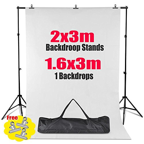 Professional Photo Studio 2x3 Meter Background Stand Support Kit With Photo Backgrounds Backdrop Screen All In 1 Photography Set Come With Quality Carry Bag (White Background)