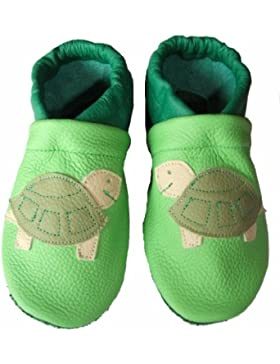 JANAs Krabbelschuhe, Unisex-Kinder, Motiv Schildkröte , apfelgrün hell, apfelgrün