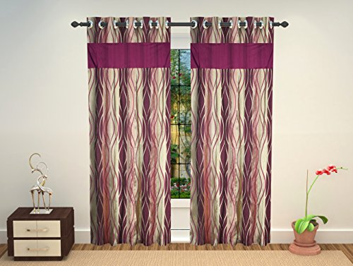 Chawla Handloom 1 Piece Silk Long Door Curtain - 9 Feet, Multi ...