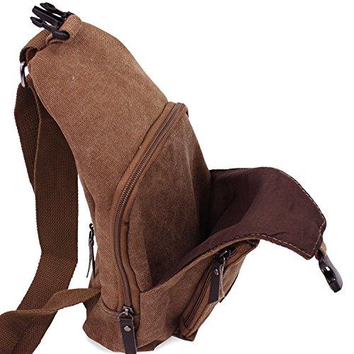 PsmGoods® Herren Umhängetasche Freizeittasche Travel Wandern Tasche Rucksack Chest Pouch Sling Khaki Kaffee groß