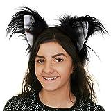 ILOVEFANCYDRESS Katzen Ohren AN Haarband = Fasching und Karneval KOSTÜM Verkleidung ZUBEHÖR = Unisex = Kunstfell