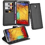 Cadorabo - Funda Samsung Galaxy NOTE 3 NEO (N7505) Book Style de Cuero Sintético en Diseño Libro - Etui Case Cover Carcasa Caja Protección (con función de suporte y tarjetero) en NEGRO-FANTASMA