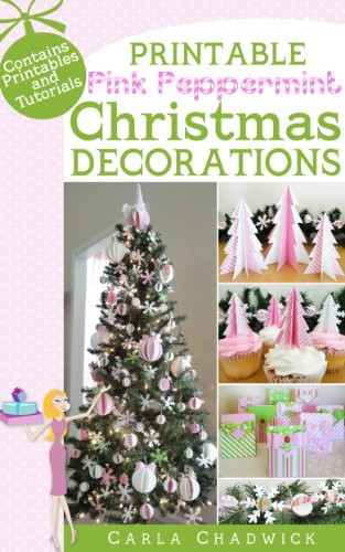 Printable Pink Peppermint Christmas Decorations (English Edition)