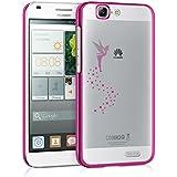 kwmobile Elegante y ligera funda Crystal Case Diseño hada para Huawei Ascend G7 en rosa fucsia transparente
