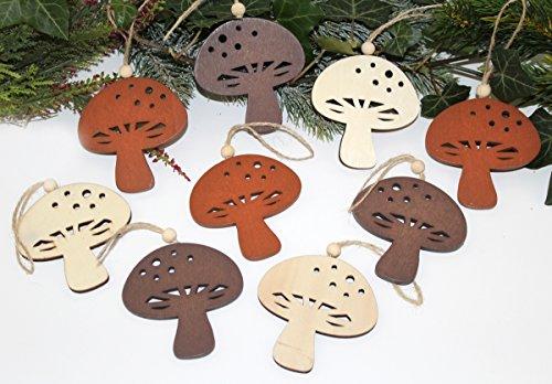 Nostalgic Garten 9 x Anhänger Holz Herbstdeko Pilze (B)