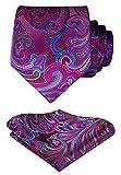 Hisdern Herren Krawatte Blumen Paisley Hochzeit Krawatte & Einstecktuch Set Pink & Gr¨¹n