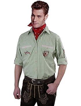 Top-Quality Trachtenhemd Herren - Grün-Karo/kariert - Langarm/Kurzarm - Komfort Reine Baumwolle -mit Edelweiß