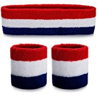 ONUPGO Sweatband Headband Wristbands Set, Cotton Striped Sweatband Set for Running, Cycling, Tennis, Football, Basketball or More