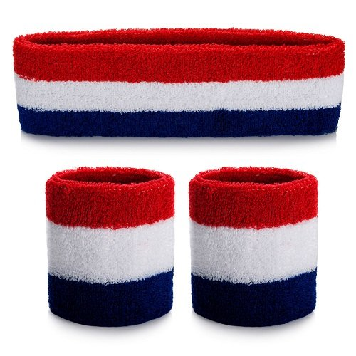 ONUPGO Ensemble de bandeau (3 pièces) Sports bandeau poignet rayé Sweatband Tissu éponge poignet Athletic Exercice Basketball Poignet Bandeau et Bandeaux humidité Mèche Sweat Head Band absorbant