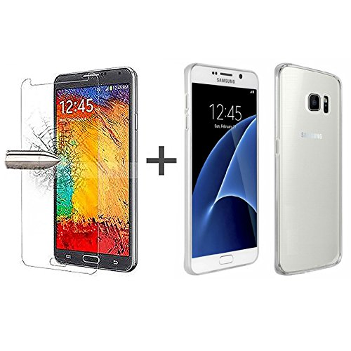 TBOC® Pack: Transparent Gel TPU Hülle + Hartglas Schutzfolie für Samsung Galaxy S7 SM-G930F G930F - Ultradünn Flexibel Silikonhülle. Panzerglas Displayschutz in Kristallklar in Premium Qualität.