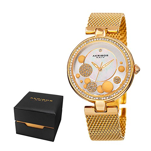 Akribos XXIV Women's Fashion Sparkling Quartz Watch - White Mother of Pearl Sunburst and Crystal Pave Dial - Featuring a Rose Gold Stainless Steel Bracelet − [ AKN881RG ] (Of Watch Mother Pearl)