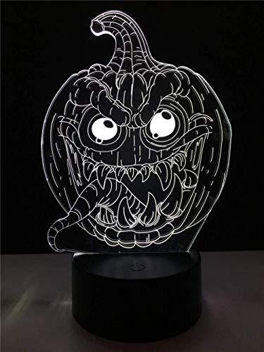 schlampen Halloween Smile Pumpkin 3D Lampe Beleuchtung Led Usb Stimmung Nachtlicht Multicolor Touch Change Table Deocr ()