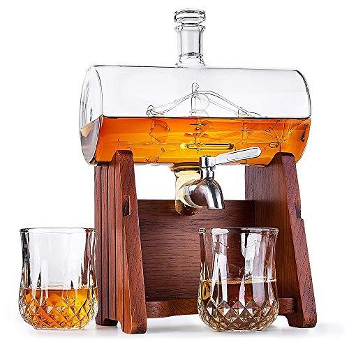 BQT Decantador de Vino Blanco, decantador de Whisky escocés, 1000 ML con 2 Vasos de Whisky (300 ML) Dispensador de Grifo de Acero Inoxidable - Juego Vaso de chupito y Vodka