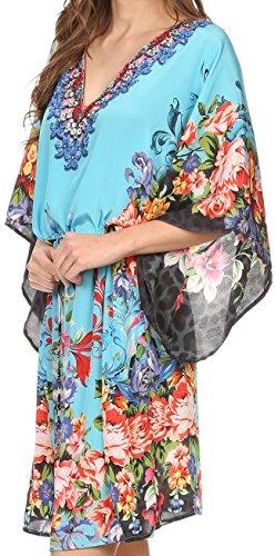 Sakkas Zander Caftan Taille Cordelière Robe de plage avec des Strasses Col en V Turq/Multi