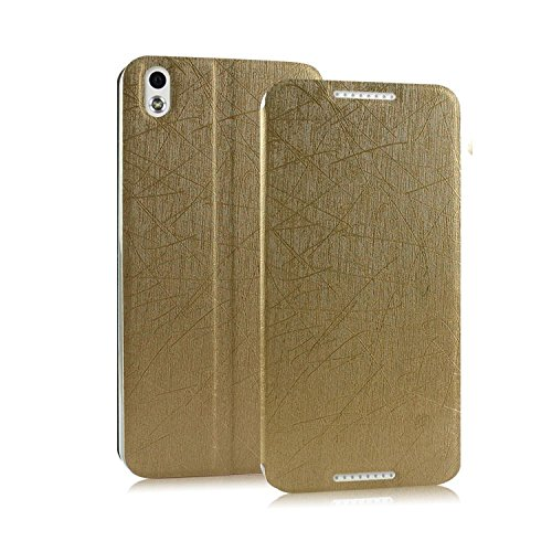 Heartly Premium Luxury PU Leather Flip Stand Back Case Cover For HTC Desire 816 - Gold