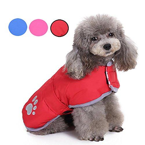 Wetter-sitz (Warmer Hunde Haustier Mantel Jacke Systond Reversible Wearing Kälte-Wetter-Kleidung Leichte Fleece-Kleidung Gepolsterter Puffer-Pullover mit reflektierendem Streifen für kleine mittelgroße Hunde)