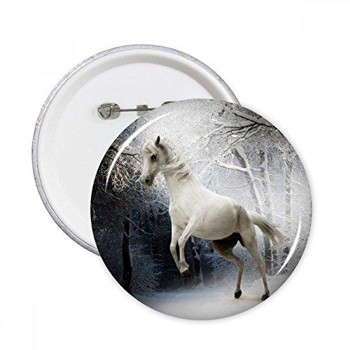 DIYthinker Weiß Horse Wissenschaft Natur-Landschaft Runde Stifte Abzeichen-Knopf Kleidung Dekoration Geschenk 5pcs Mehrfarbig L