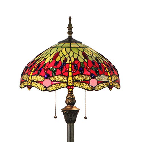 Tiffany Stehlampe Modern Wohnzimmer Rot Gelb Retro, Buntglas Dragonfly Glas Lampenschirm Stehlampe Bunt 64 Zoll by FBOSS