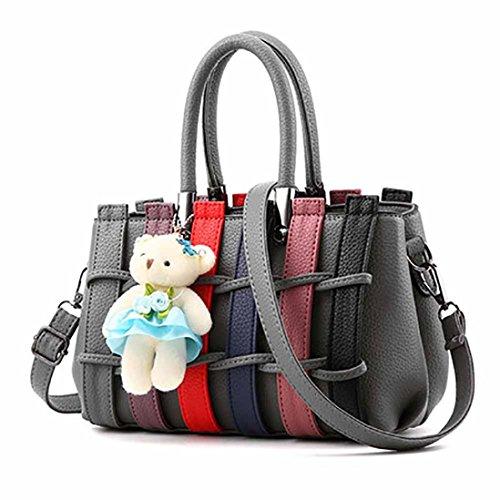 BZLine® Damen Tasche Hit Farbe Leder Umhängetasche Handtasche, 25cm*12cm*18cm Tiefgrau
