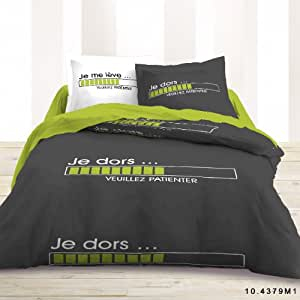 Housse de couette 220x240 2 taies placees je dors for Amazon housse de couette