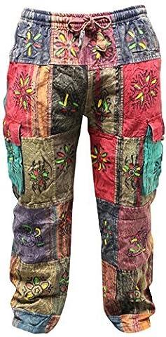 Shopoholic Fashion Unisex Traditional Symbols Hippy Boho Trouser,Festival Pants (M)