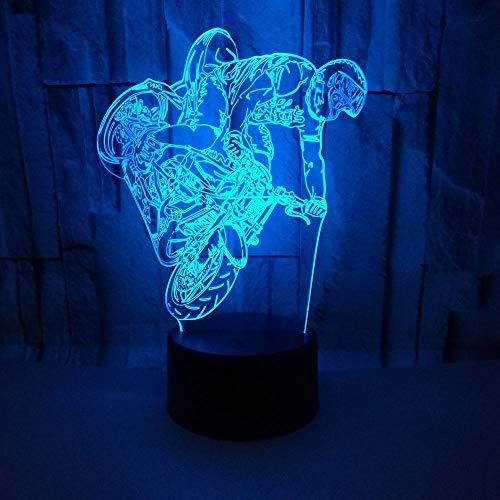 Kreative 3D Motorrad Nacht Licht 7 Farben Andern Sich USB Adapter Touch Schalter Dekor Lampe Optische Täuschung Lampe LED Lampe Tisch Kinder Brithday Weihnachten Geschenke