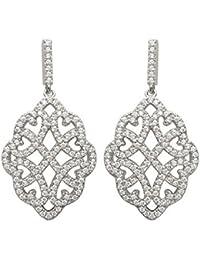 506c99c76bc7ec Orecchini pendenti in argento 925/1000 e ossido di zirconio, motivo: fiore,  rotonda, con incrocio, arabeschi, rosoni di…