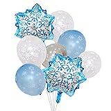 Luftballons im gefrorene-Schneeflocken-Design, Perlfarben, Silber, transparent, hellblau, Dekoration für Winter, Weihnachten und Geburtstagsparty
